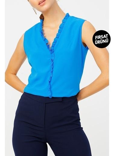 Random Kadın Fırfır Detaylı Kolsuz Bluz Mavi